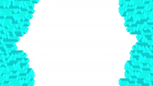 Kocka doboz tér bár 3D virtuális izometrikus shuffle hullám mintázat, Blockchain technológia koncepció design illusztráció kék színű, fehér háttér zökkenőmentes hurkolás 4k, a másolási tér