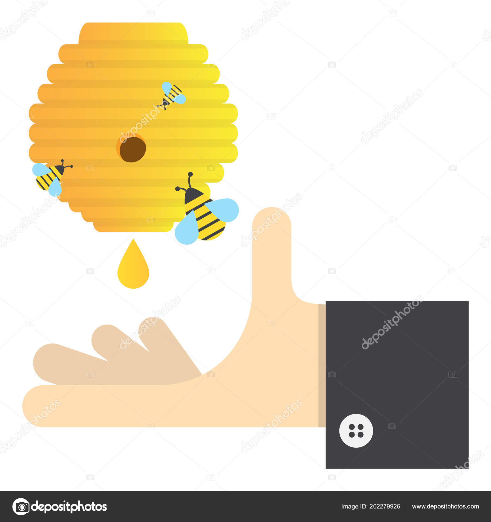 Sweet Honey Bee Hive Vector Image Flat Design Stock
