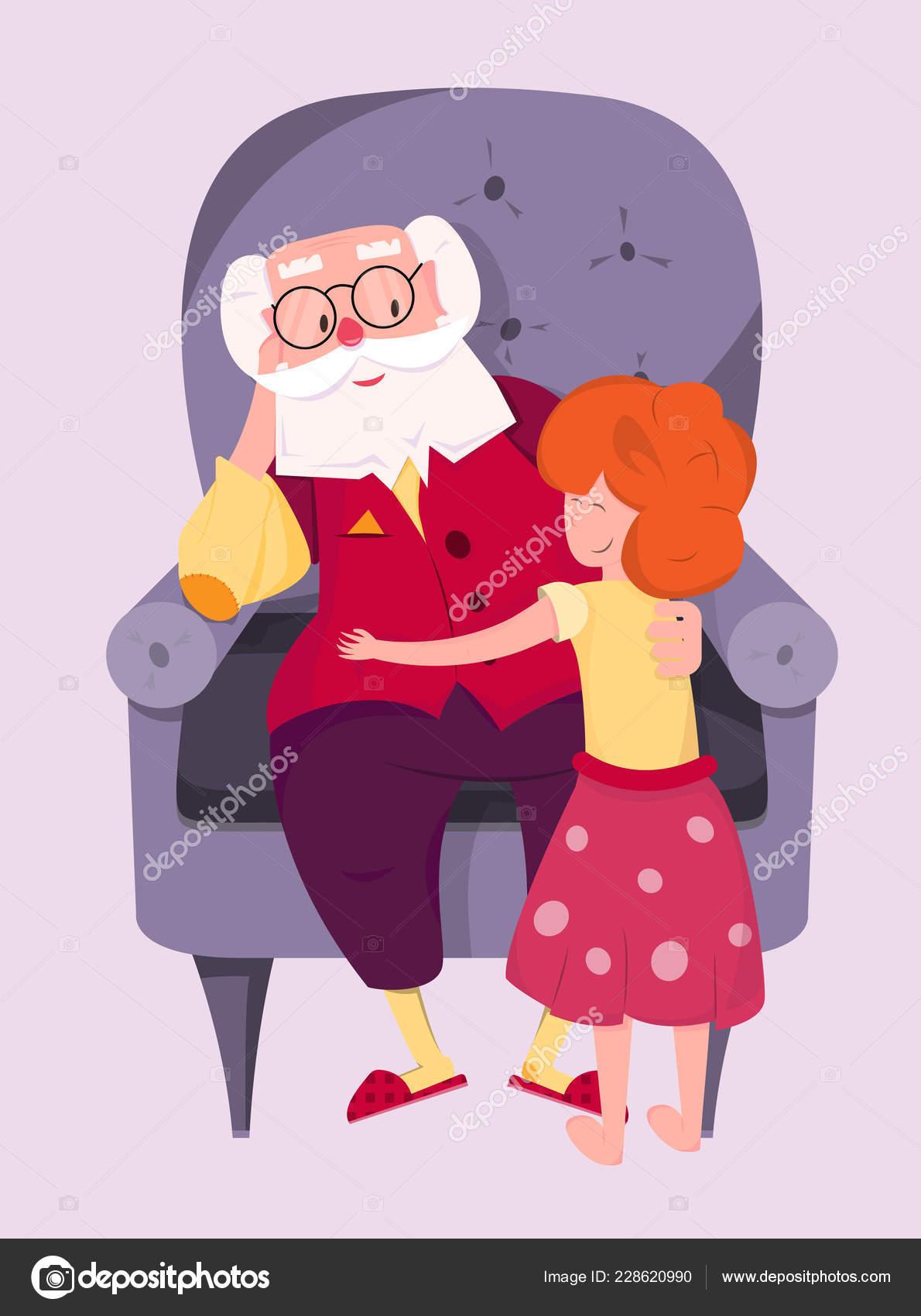 Petite Fille Embrasse Son Grand Père Personnages Dessins