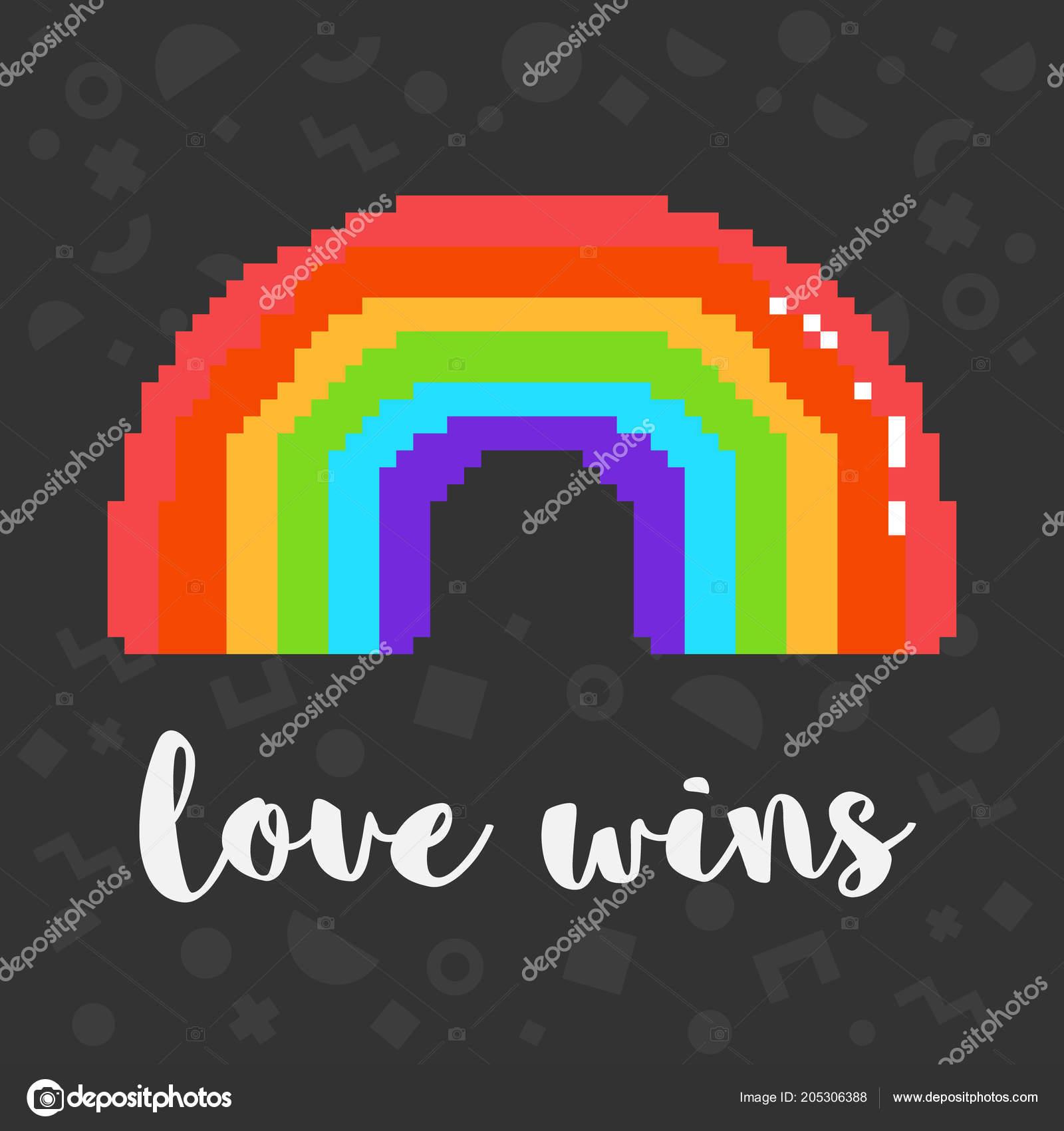 Vector Pixel Amour Gagne Arc En Ciel Image Vectorielle