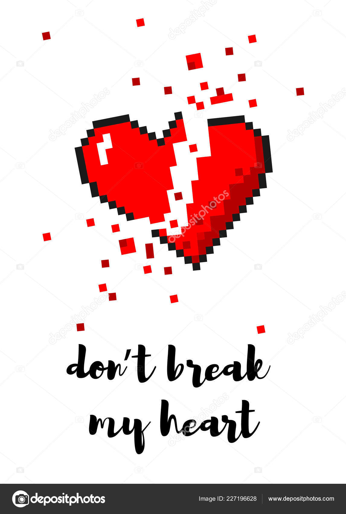 Carte De Coeur Brisé Vector 8 Bit Pixel Art Image