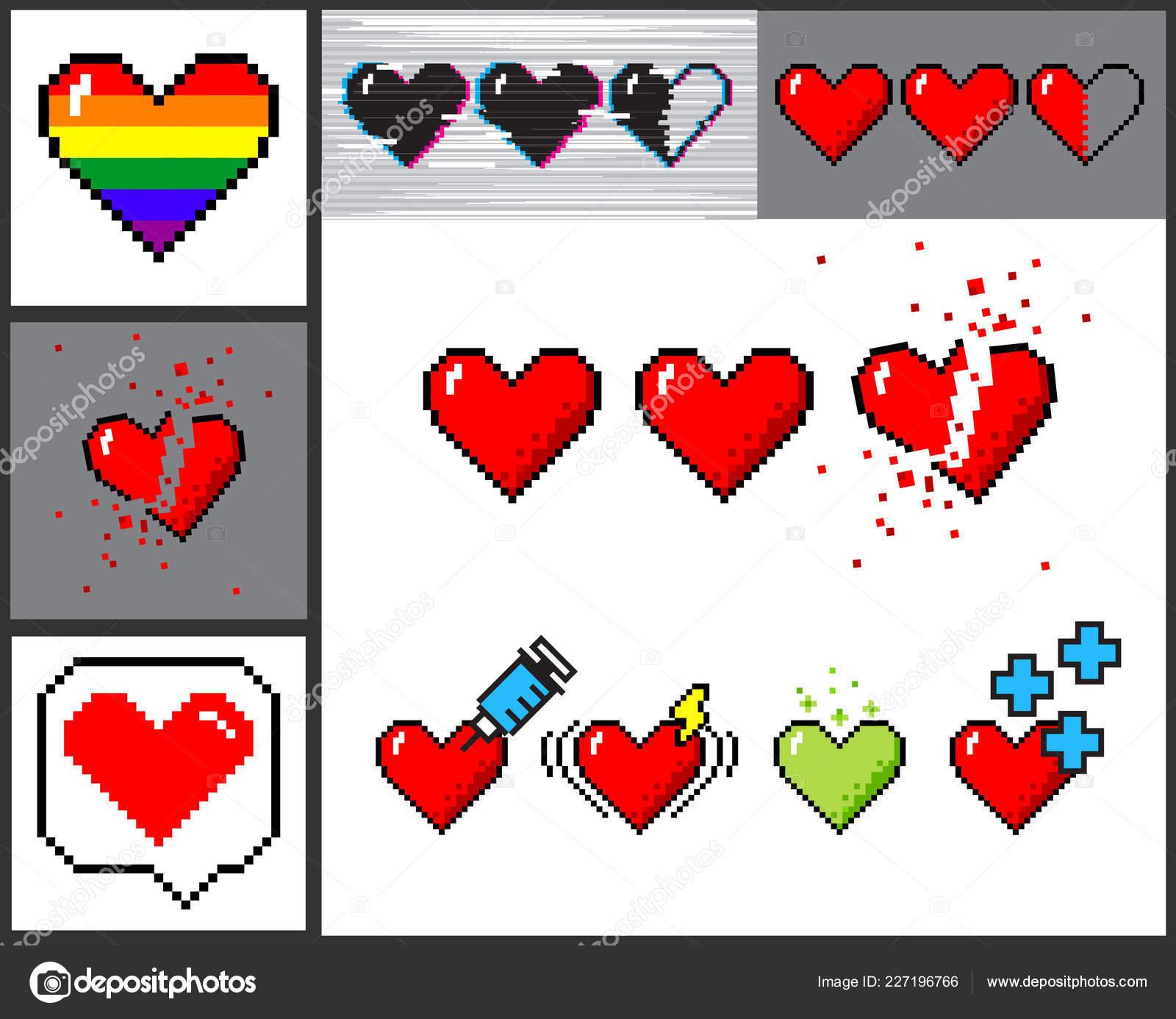 Vecteur Série De Coeurs De 8 Bit Pixel Art Image