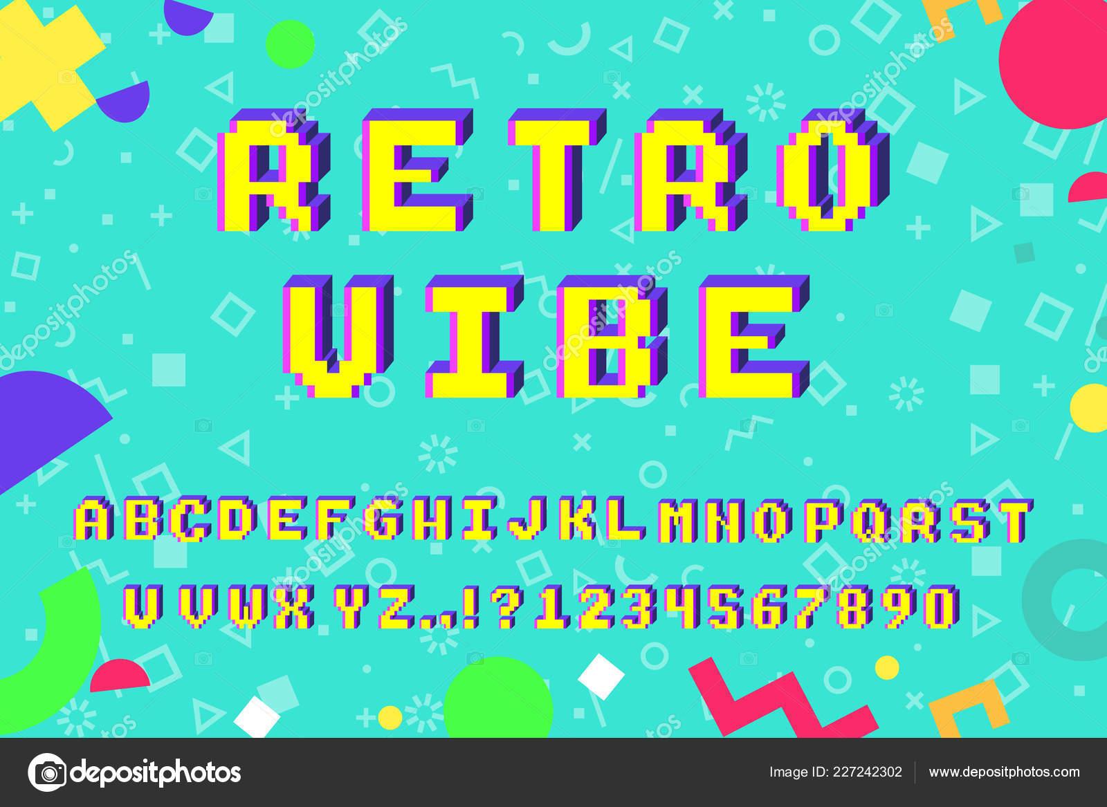 Vector Bits Pixel Art Alphabet Latin Avec Effet Lettres
