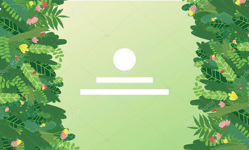 Vector landing page design with tropical greens