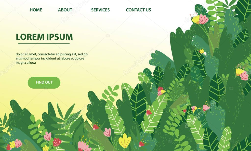 Vector landing page design with tropical greens and flowers. Web, application template. Banner, poster with copyspace for text