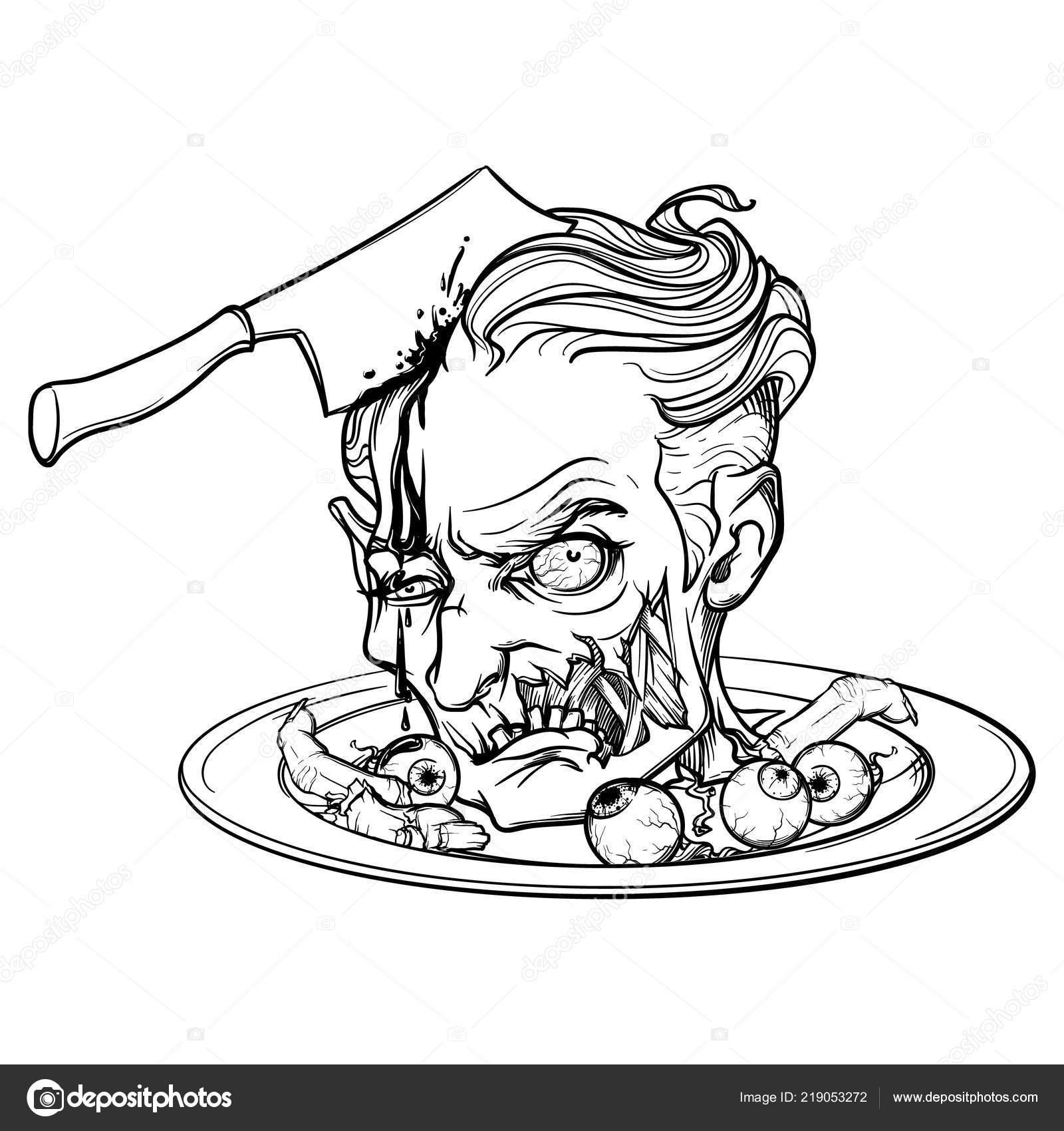 cartoon zombie testa servita su un piatto con bulbi
