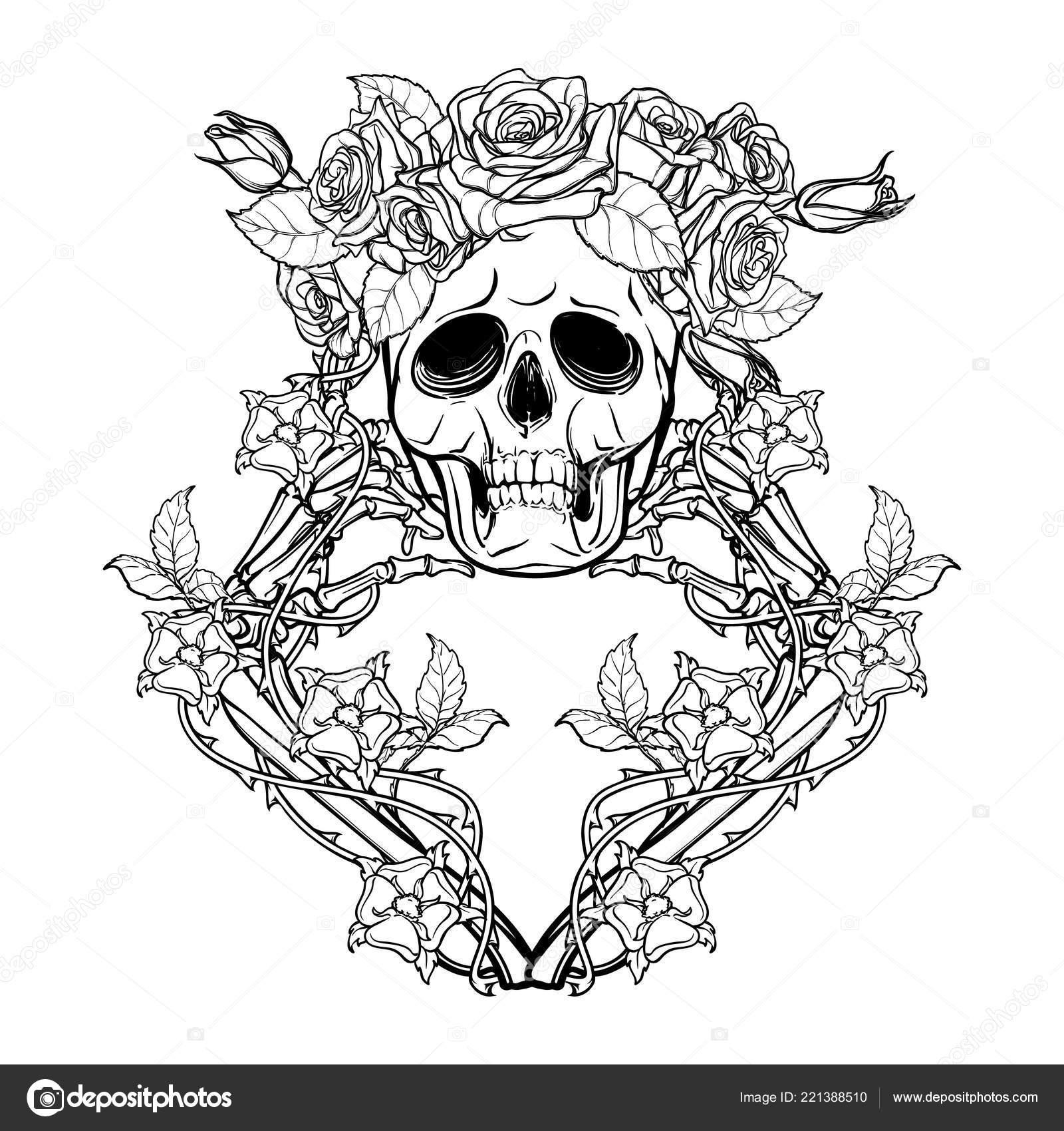 Halloween Santa Muerte Ludzka Czaszka Róża Kości Wieniec I