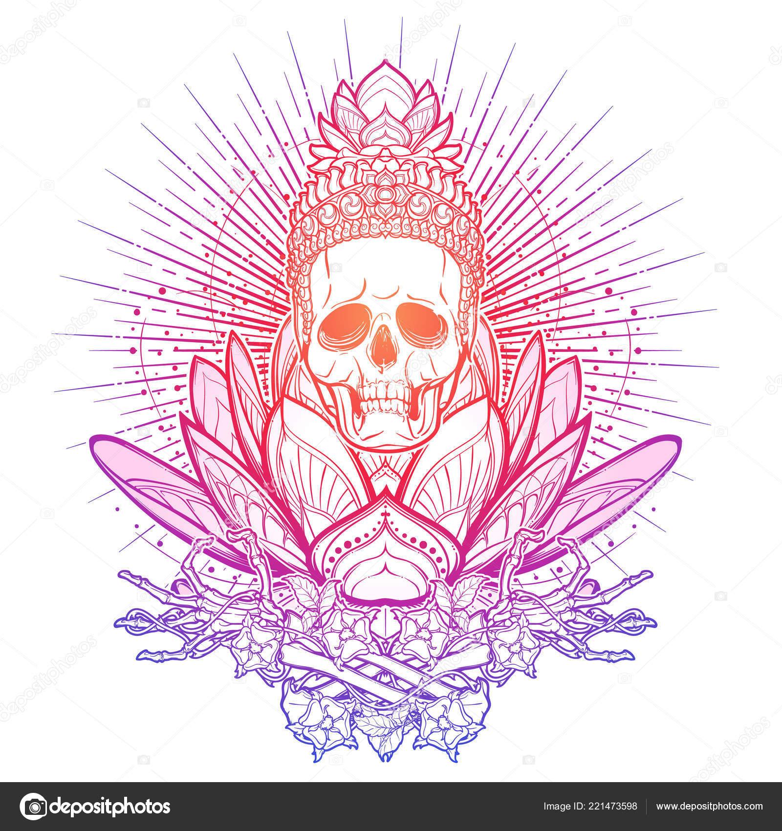 Meditating Skeleton Human Skull Hands Sacred Lotus Flower Trendy