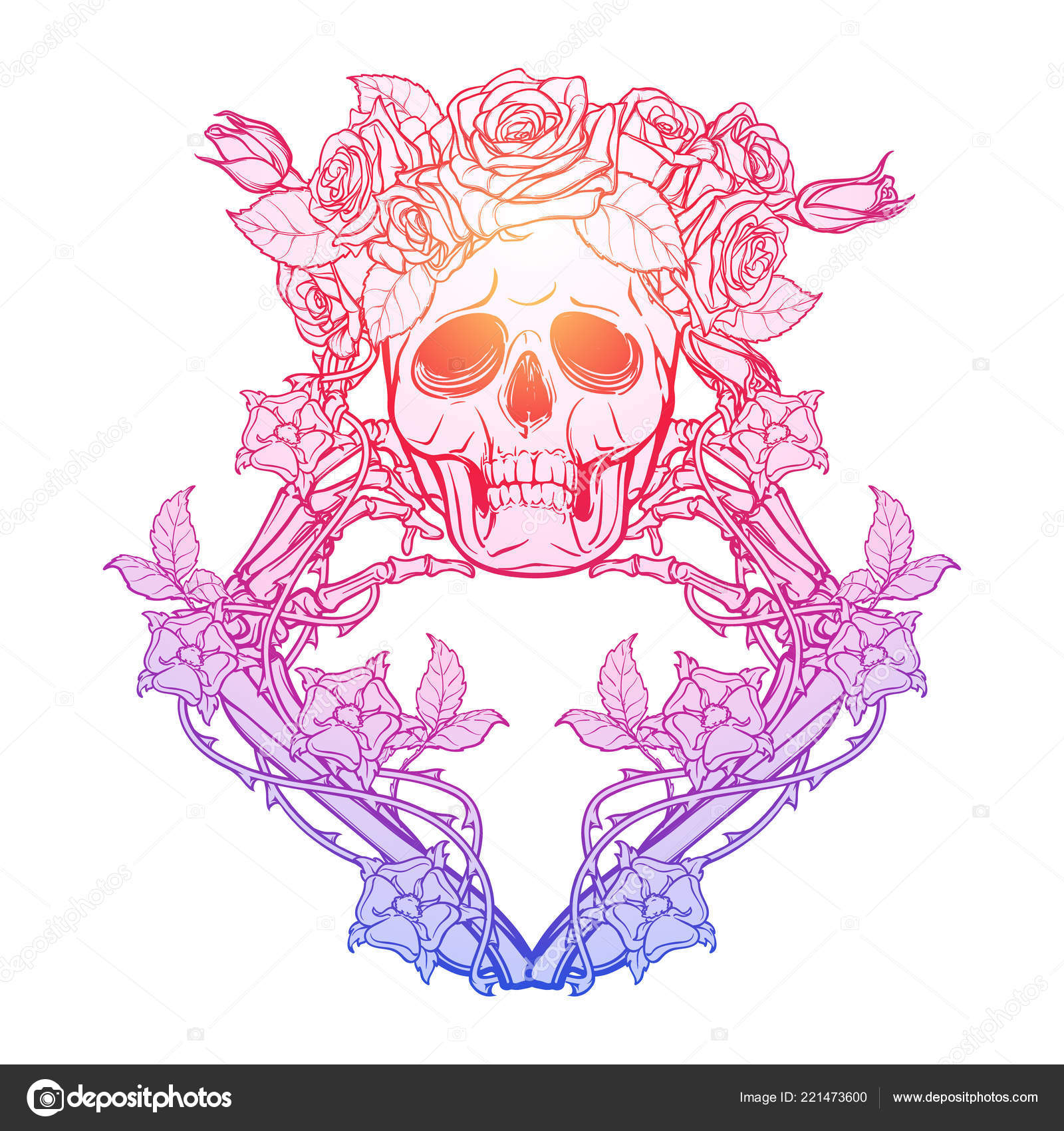 Halloween Santa Muerte Cranio Umano Rosa Ossa Mano Corona Ghirlande