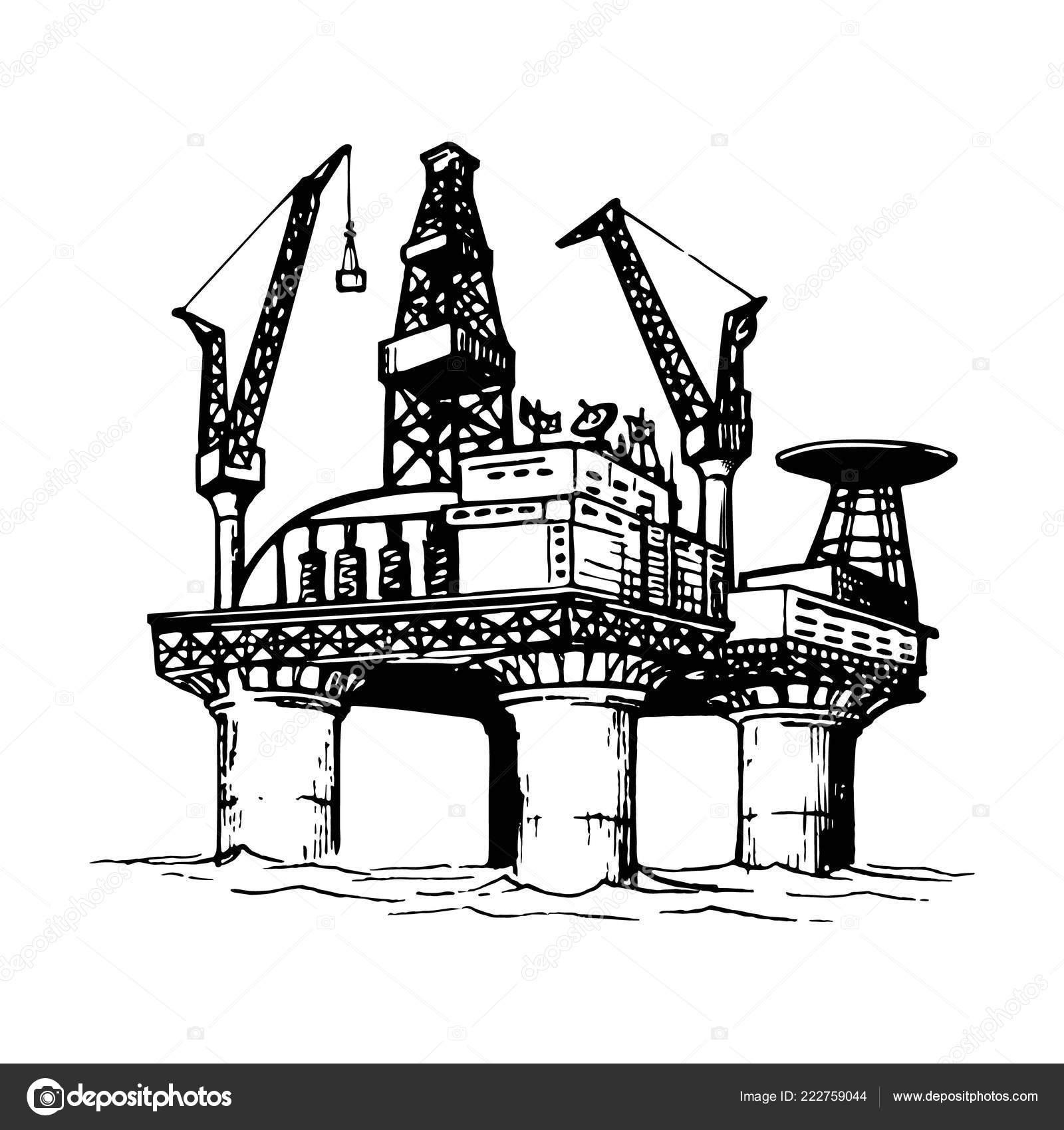 Oil rig drawing | Offshore oil drilling platform  Sketch