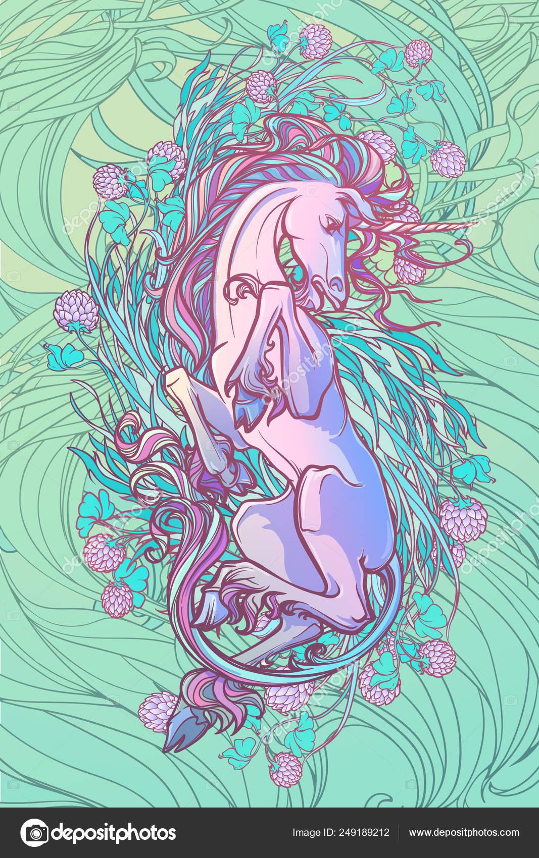 Unicornio En La Espalda Fantasía Arte Conceptual Para Tatuaje Logo