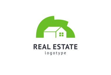 Abstract real estate agent logo icon vector design. Rent, sale of real estate vector logo, House cleaning, home security, real estate auction, grass cutting. Vector building logo concept.
