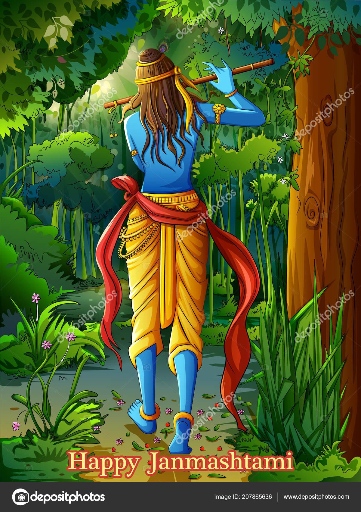 Lord Krishna Playing Bansuri Flute On Happy Janmashtami Holiday Festival Background Stock Vector C Premiumstock 207865636