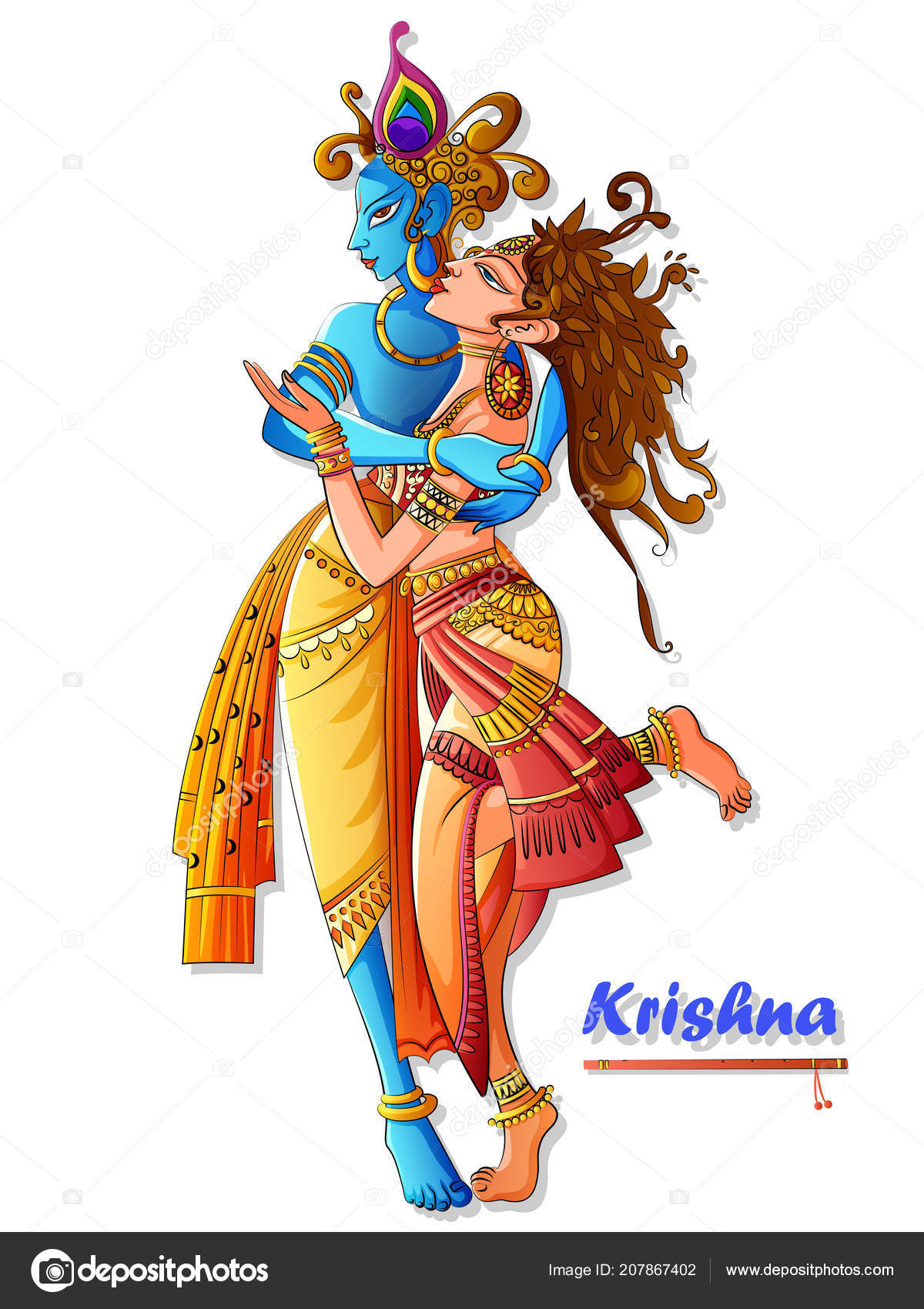depositphotos 207867402 stock illustration lord krishna playing bansuri flute