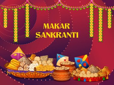 Happy Makar Sankranti religious traditional festival of India celebration background