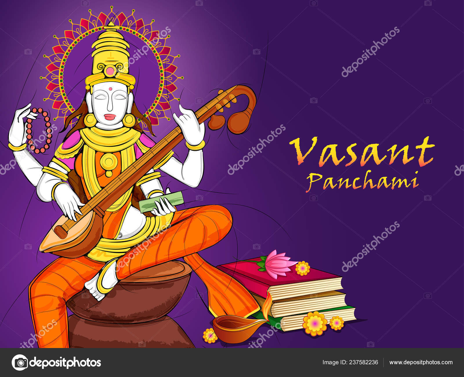 Indische Göttin Saraswati Auf Vasant Panchami Pooja Festival
