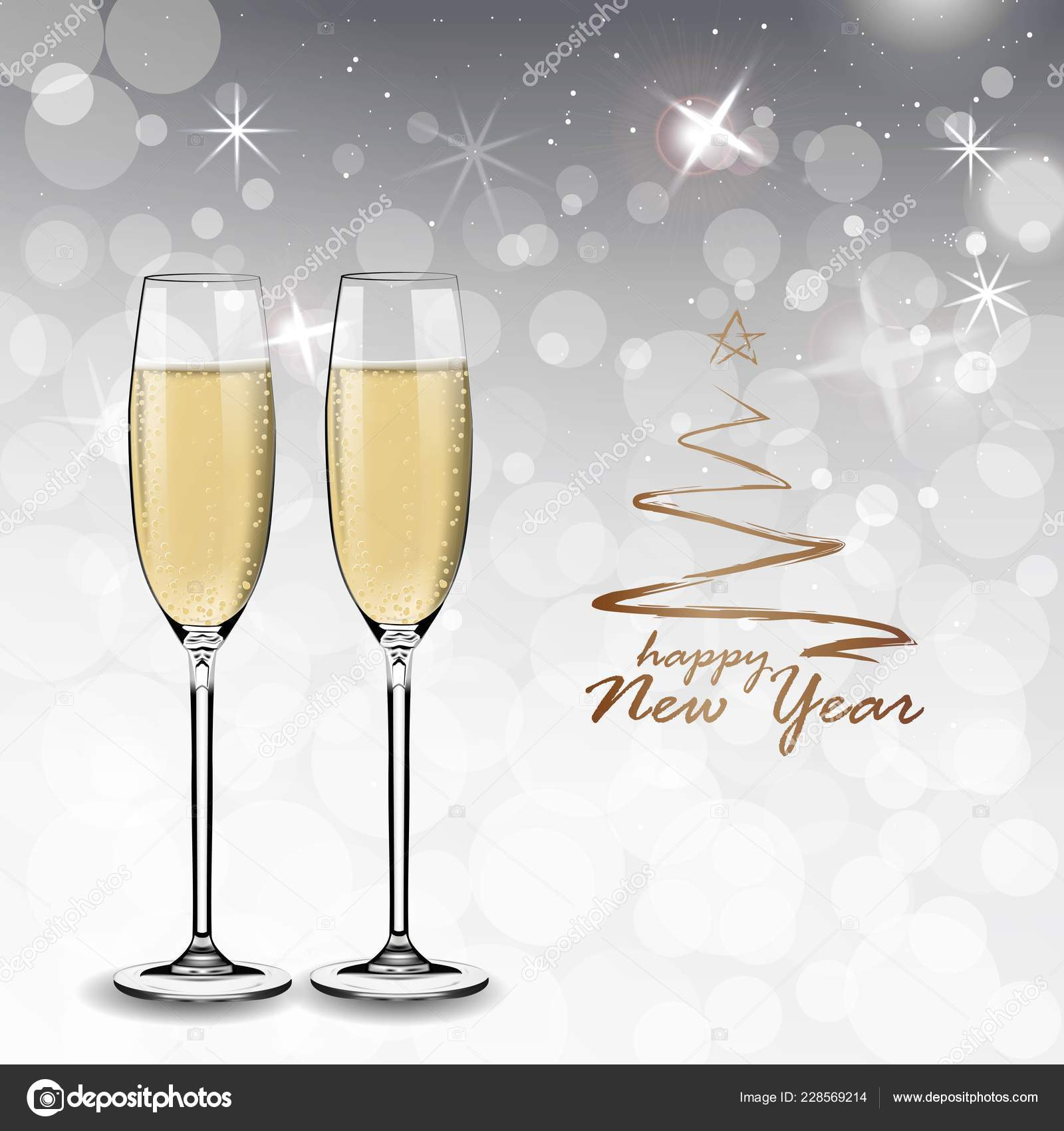 vector happy new year with toasting glasses of champagne on white snow background in realistic stylegreeting card or party invitation with golden christmas