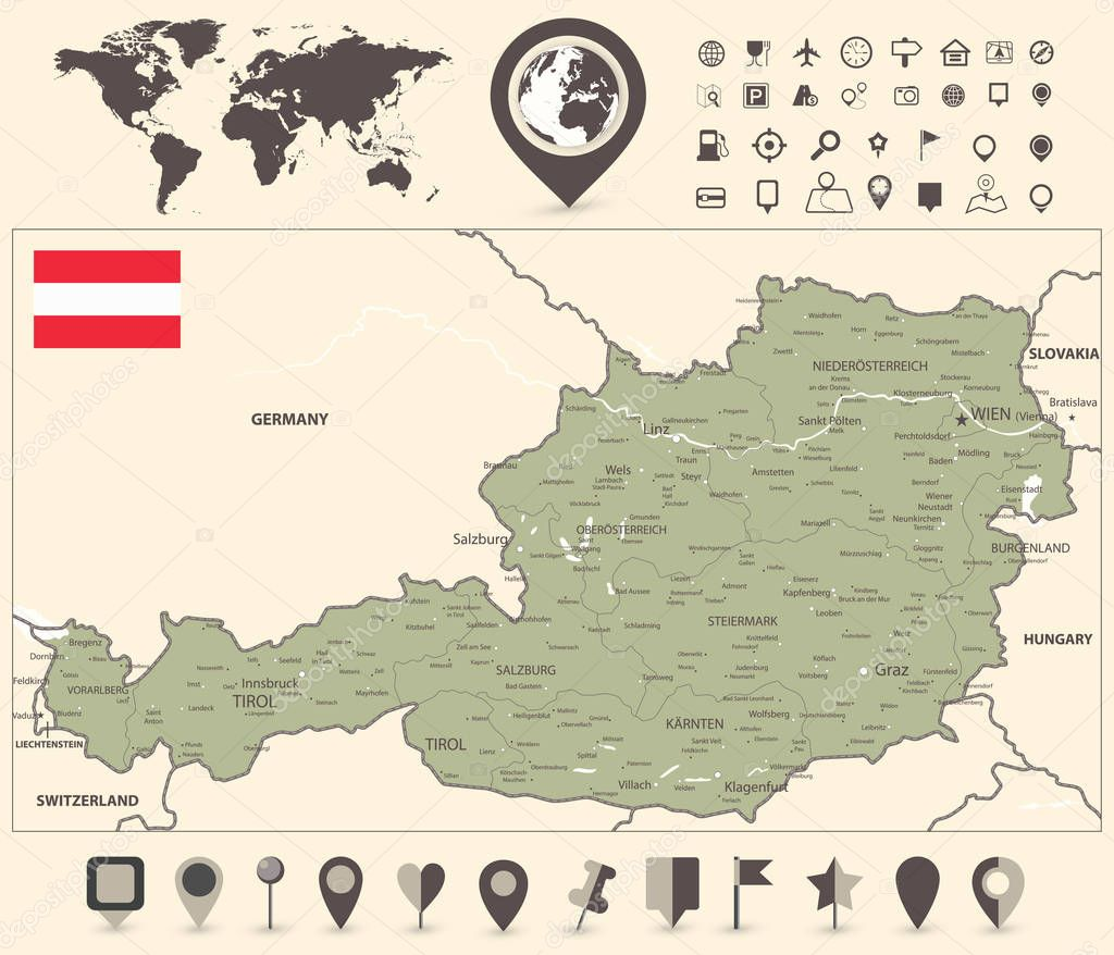 Image of: Austria Map And World Map With Navigation Icon Detailed Map Of Austria Vector Illustration All Elements Are Separated In Editable Layers Clearly Labeled Premium Vector In Adobe Illustrator Ai