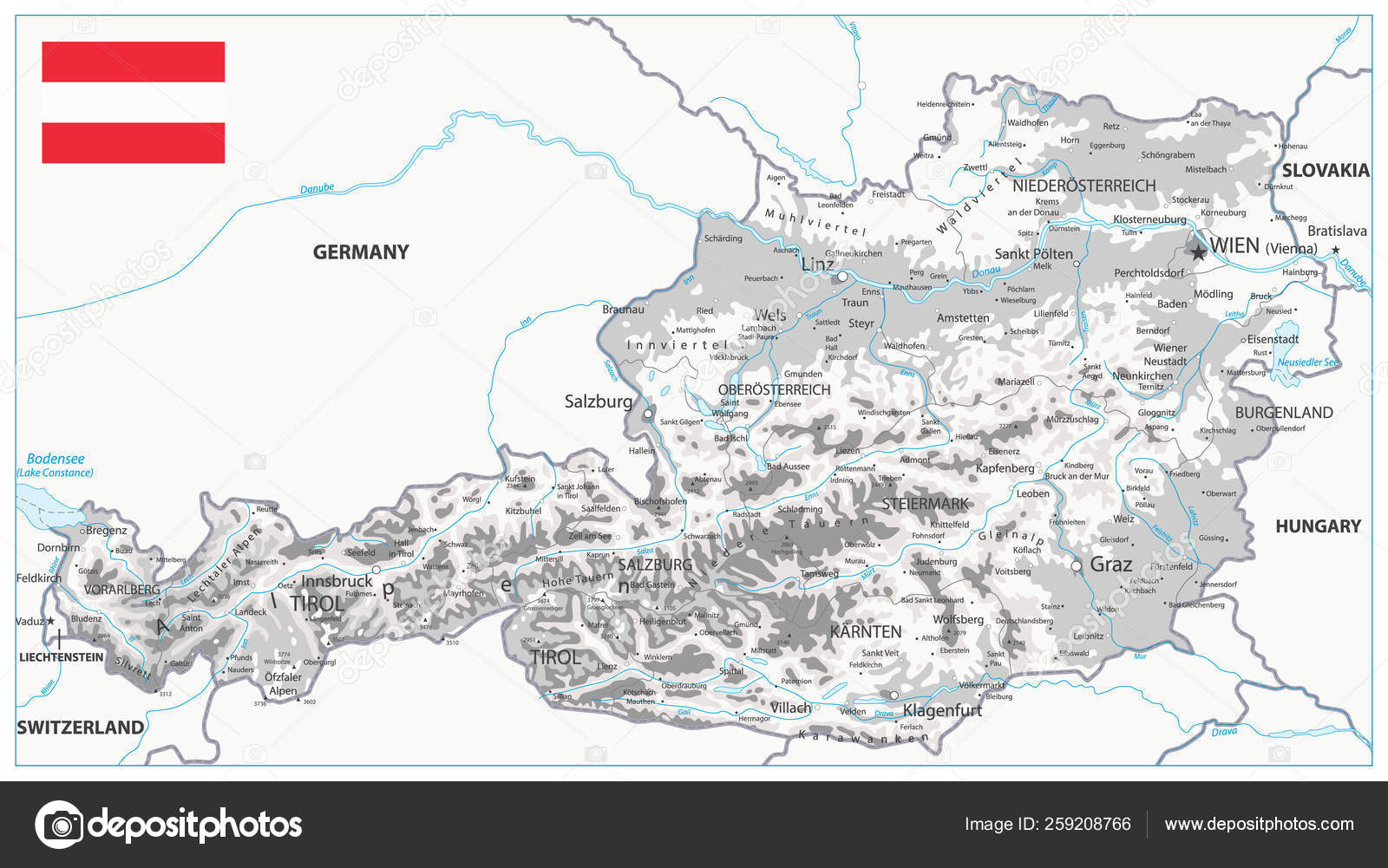 Picture of: Austria Physical Map White And Grey Stock Vector C Cartarium 259208766