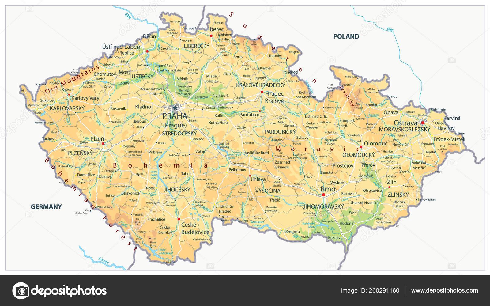 Czech Republic Physical Map — Stock Vector © Cartarium
