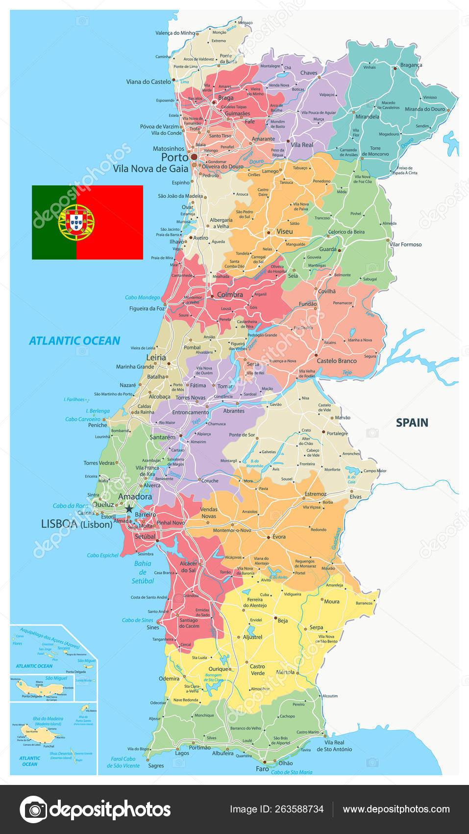 Mapa De Carreteras Portugal.Portugal Mapa Dedivision Administrativa Y Carreteras