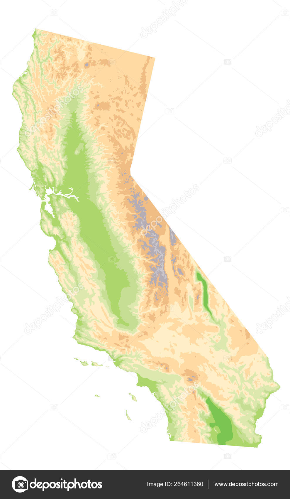 Physical Map of California Isolated On White - No text — Stock ...