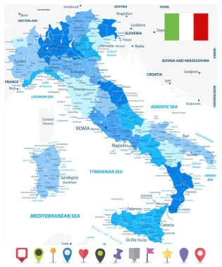 Italy Administrative Divisions Map Blue Colors and Flat Map Icon