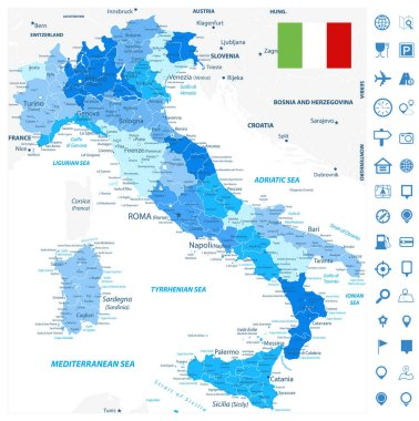 Italy Administrative Divisions Map Blue Colors and Navigation Ma