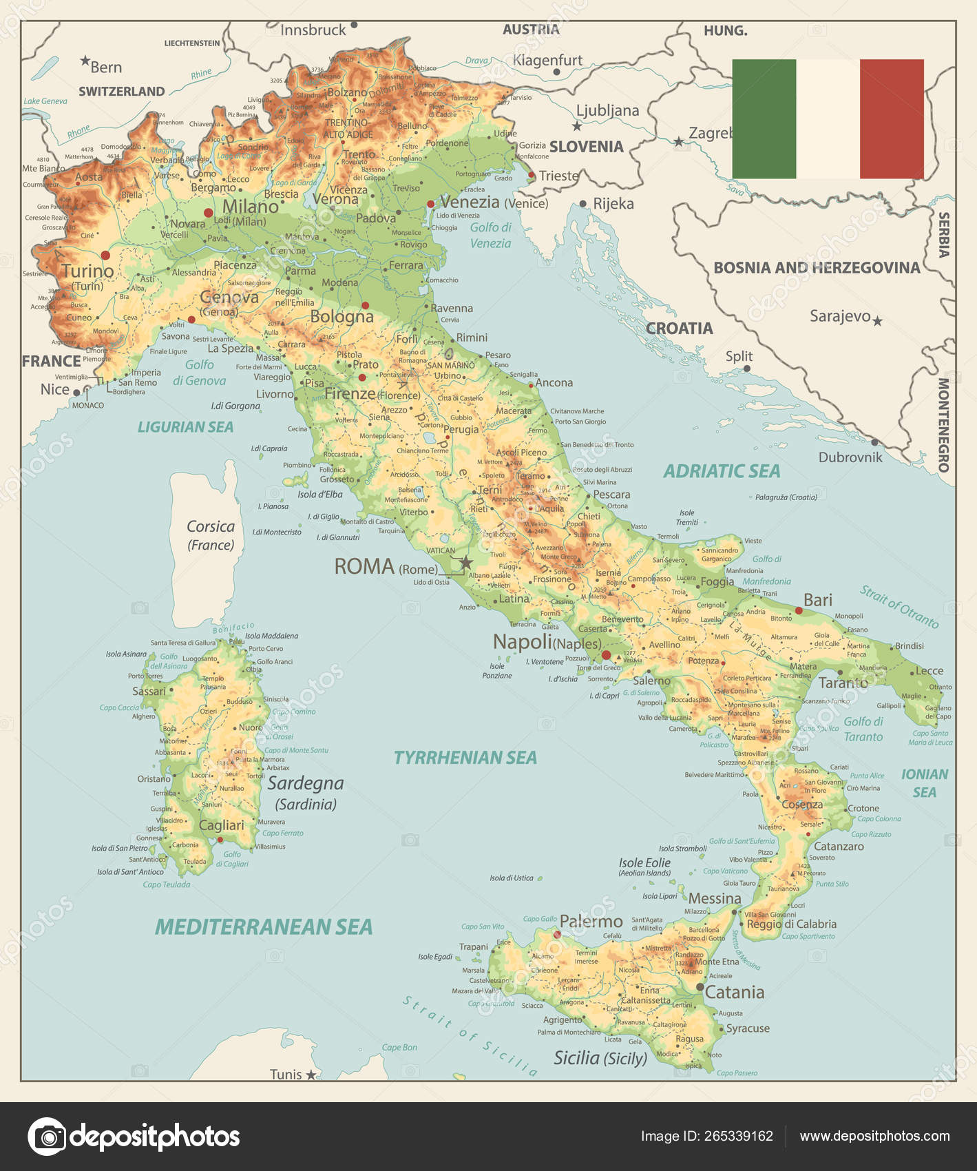 Picture of: Italy Physical Map Vinatge Colors Stock Vector C Cartarium 265339162
