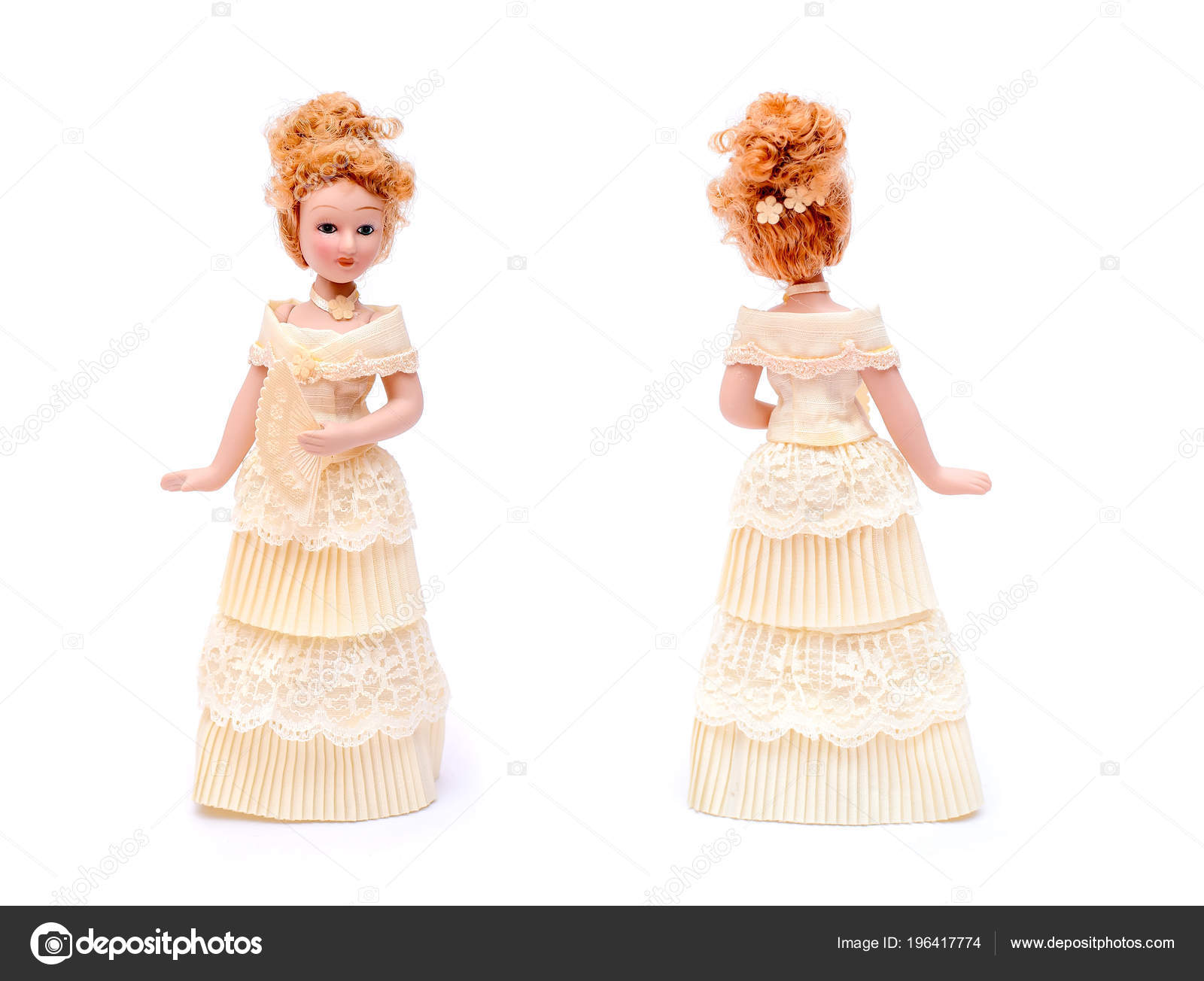 Beautiful Porcelain Doll Red Curly Hair Hairstyle Beige Vintage Dress — Stock Photo