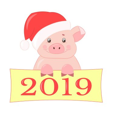 Vector pink cute piggy in the new year's red hat smiles and congratulates on the new year 2019, isolate on white background