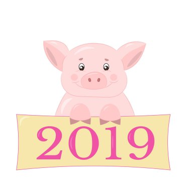 Pink cute piggy congratulates on the new year 2019