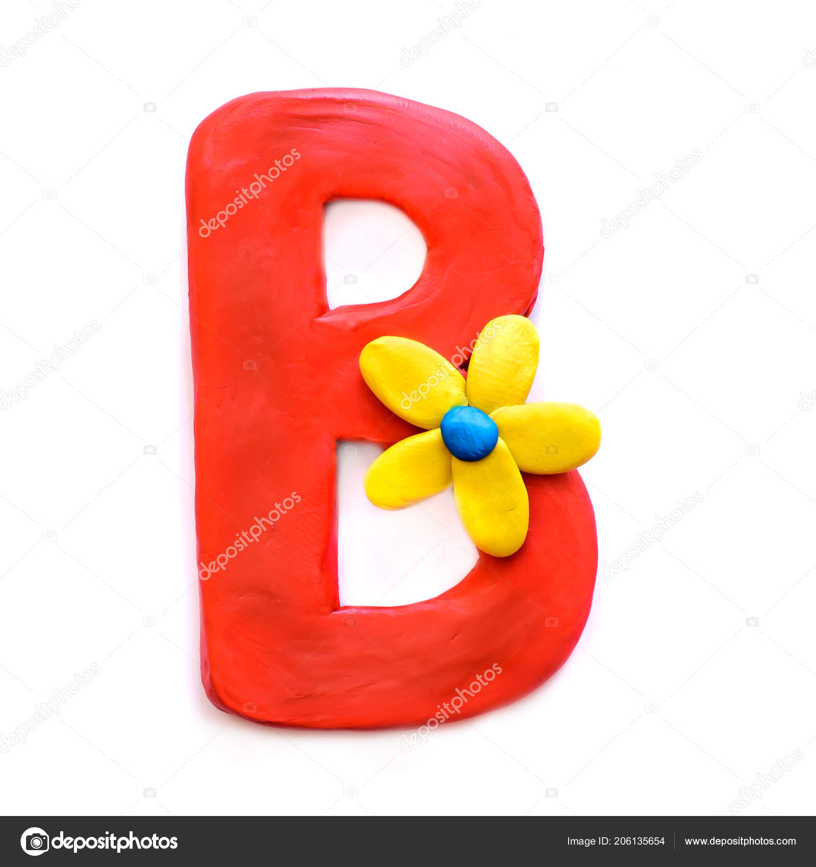 Red Clay Letter English Alphabet Yellow Flower Isolate White