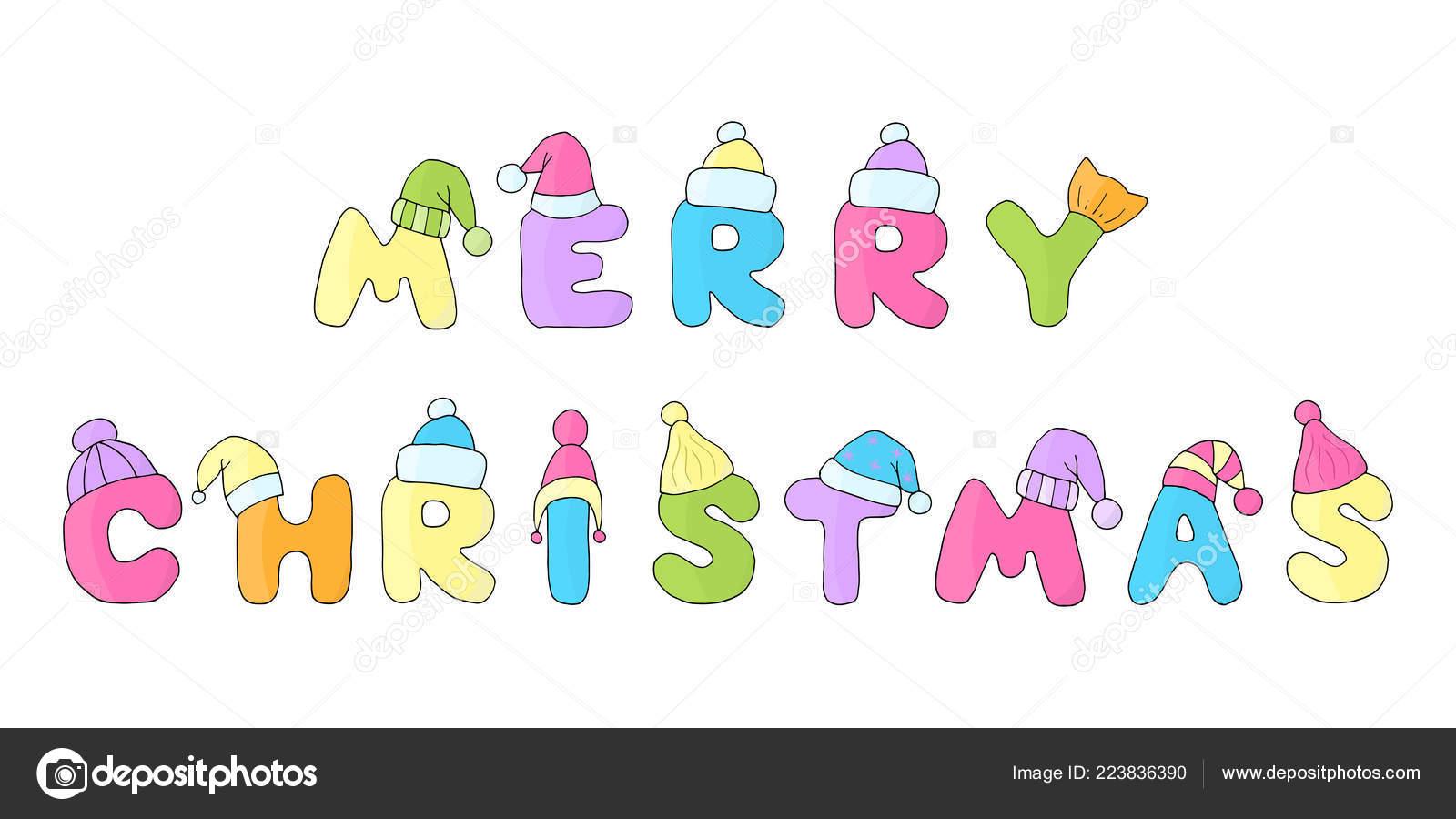 Frasi Natale Per Bambini.Frase Vettore Buon Natale Scritto Lettere Allegro Dei Bambini