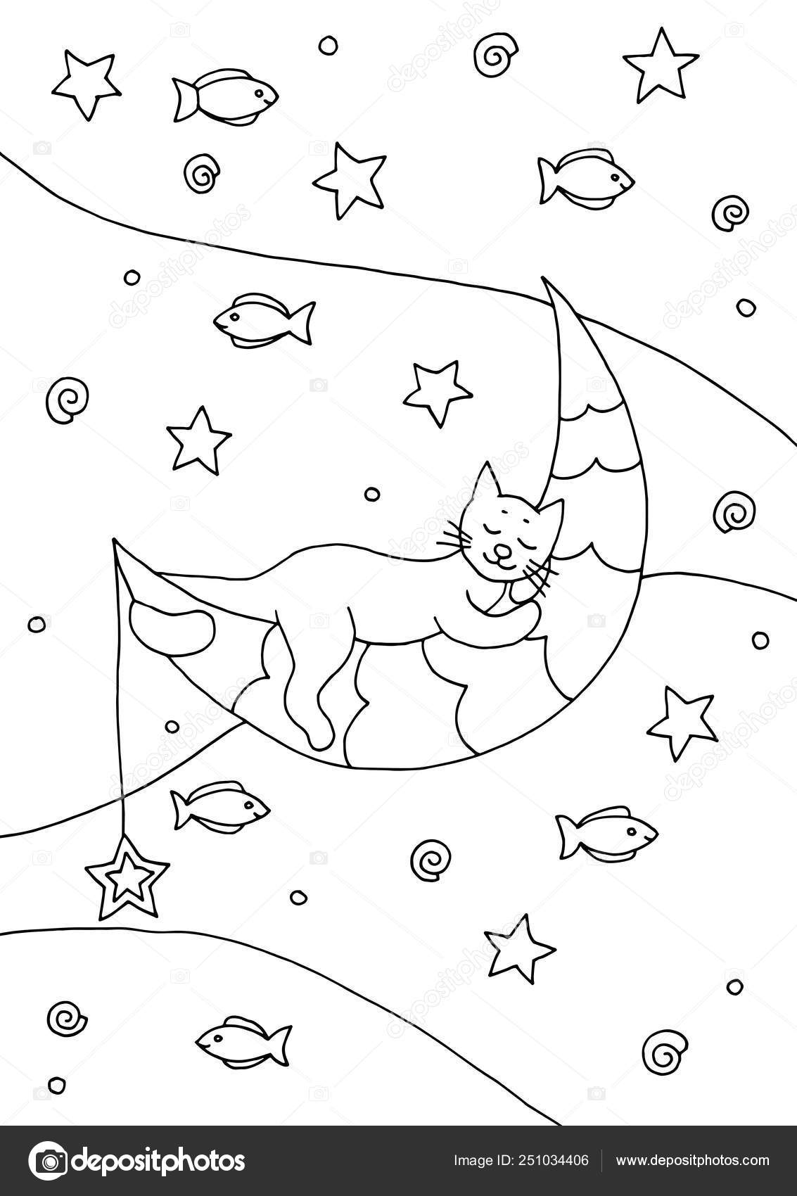Hand Drawn Coloring Page With A Sleeping Cat On The Moon Stock