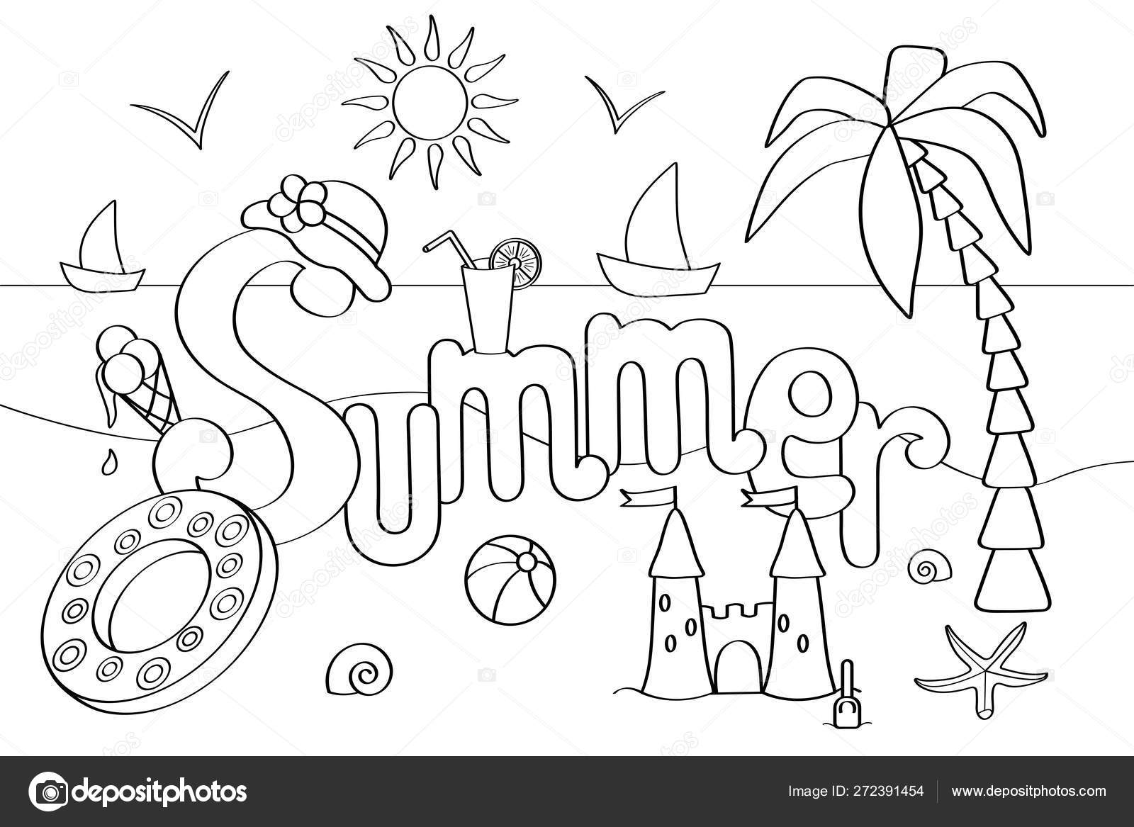 Vector coloring page on the theme of summer vacation at the sea 9