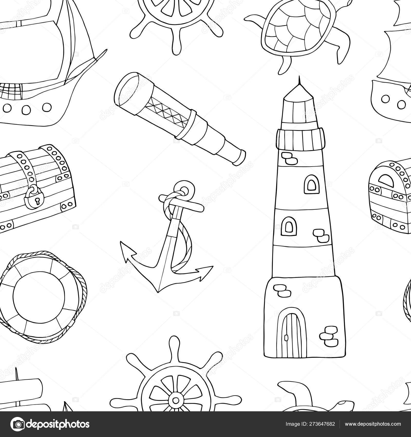 Deniz Temali Doodle Dikissiz Desen Boyama Sayfasi Stok Vektor