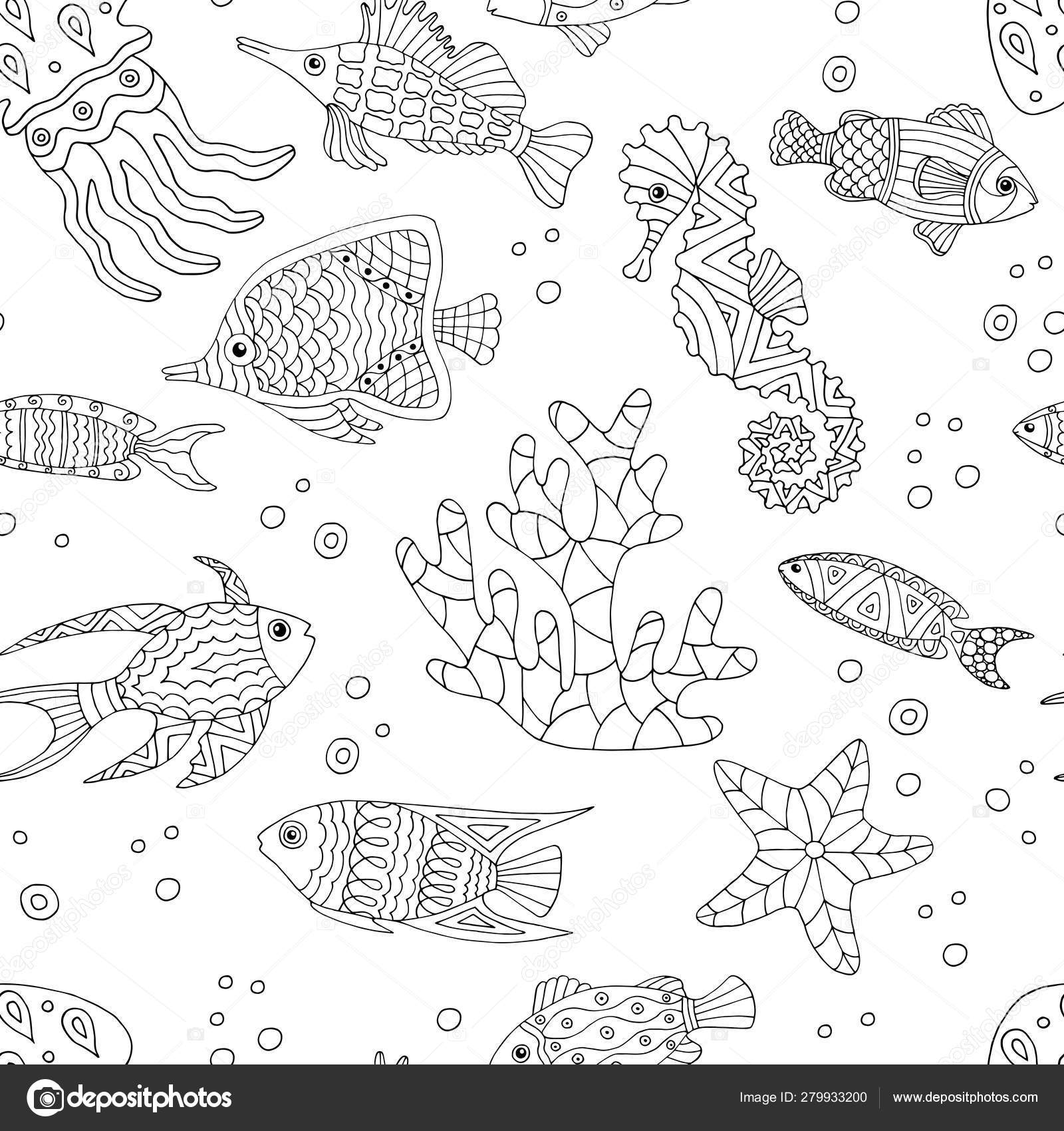 Abstract Seamless Pattern With Hand Drawn Sea Fish Coloring Page Vector Image By C Elvirkindom Yandex Ru Vector Stock 279933200
