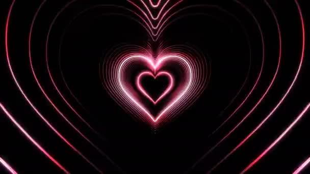 Schöne abstrakte rosa Herzen Tunnel mit Licht Linien bewegen schnell. Satz von mehreren Video-Elementen. Flug durch die futuristische Neon-Hintergrund-Tunnel. 3d Animation geloopt. 4 k Ultra Hd 3840 x 2160