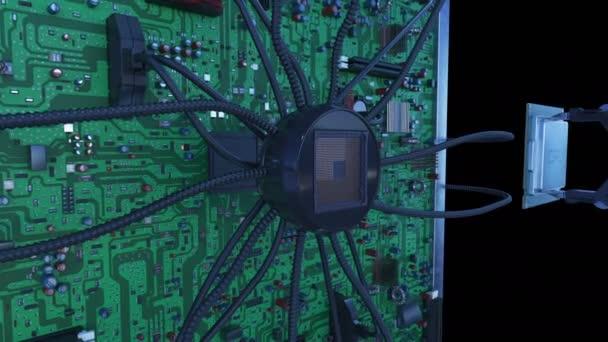 Az áramkör a zöld jelzések a processzor beszerelése robotkar. 3D-s animáció az alaplap, a processzor és a fáklyák. Technológia és digitális koncepció. 4k Uhd 3840 x 2160.