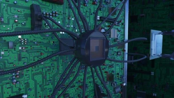 Gyönyörű folyamat a processzor beszerelése az áramkör által a kék jelzések robotkar. 3D-s animáció alaplap, Cpu, és a fáklyák. Technológia és digitális koncepció. 4k Uhd 3840 x 2160.