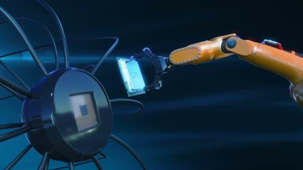 Processzor telepítési folyamat a futurisztikus áramköri robot kar absztrakt 3d animáció futurisztikus alaplap CPU-t. Technológia és digitális koncepció. 4k Uhd 3840 x 2160