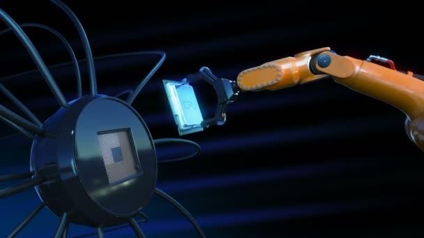 Gyönyörű folyamat a processzor beszerelése a futurisztikus áramkör által robotkar kék jelekkel. 3D-s animáció alaplap, Cpu, és a fáklyák. Technológia és digitális koncepció. 4k Uhd