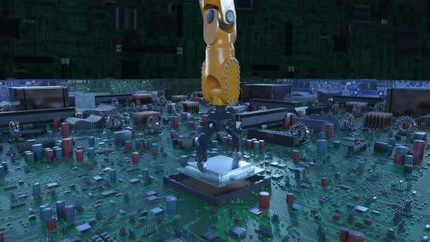Robot Arm processzor beszerelése az áramkör kék jelekkel. 3D-s animáció alaplap, Cpu, és a fáklyák. Technológia és digitális koncepció. 4 k Ultra Hd 3840 x 2160.