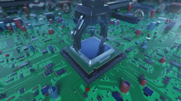 Közelkép processzor telepítési folyamat az áramkör, robot kar Dof elhomályosítja. 3D-s animáció az alaplap, CPU-t. Technológia és digitális koncepció. 4k Uhd 3840 x 2160