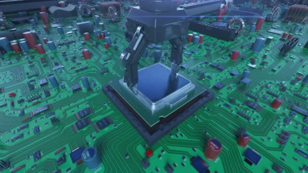 Az áramkör a kék fény a processzor beszerelése robotkar. 3D-s animáció alaplap, Cpu, és a fáklyák. Technológia és digitális koncepció. 4k Uhd 3840 x 2160.