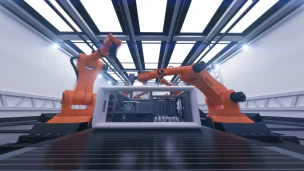 Beautiful Robotic Arms Assembling Computer Cases On Conveyor Belt. Futuristic Advanced Automated Process. 3d Animation. Business, Industrial and Technology Concept. 4K Ultra HD 3840x2160.