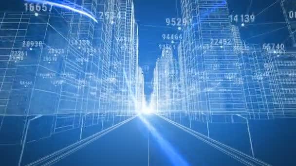 Pohybující se po finanční městské matice. Digitální 3d Blueprint a čísla. Podnikání a technologický koncept. Modrá barva 3d animace. 4k Uhd 3840 x 2160