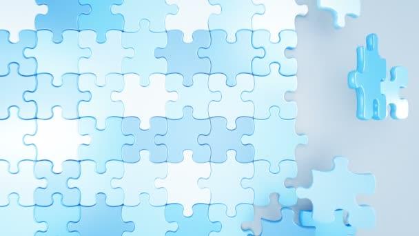 Krásné Puzzle padající kusy modré a růžové barvy na obrazovce 3d animaci. Pojem gender. Užitečné pro přechody. Zelená obrazovka alfa masku. 4k Uhd 3840 x 2160.