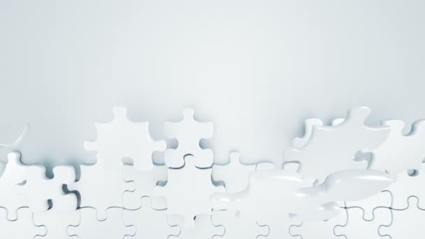 Krásná bílá Puzzle kousky budování zdi 3d animace. Vhodné pro přechody a titulky. Zelená obrazovka. Alfa masku. 4k Uhd 3840 x 2160